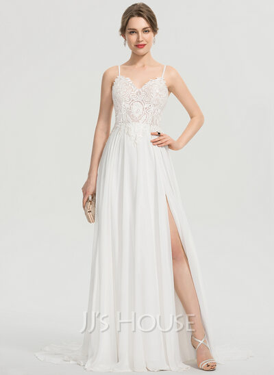 A-Line V-neck Sweep Train Chiffon Prom Dresses With Split Front