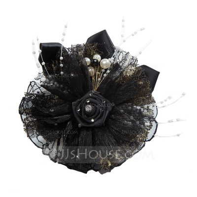 Classic Satin/Tulle Flowers & Feathers