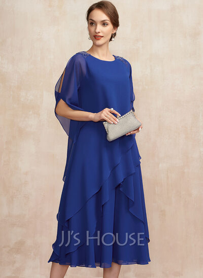 A-Line Scoop Neck Tea-Length Chiffon Cocktail Dress With Beading Sequins Cascading Ruffles