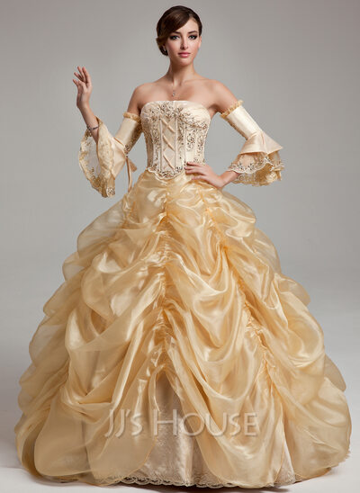 Ball-Gown Strapless Floor-Length Organza Quinceanera Dress With Ruffle Beading Sequins
