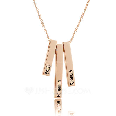 Christmas Gifts For Her - Custom 18k Rose Gold Plated Silver Engraving/Engraved Family Three Bar Necklace With Kids Names