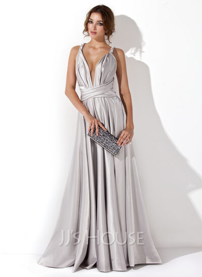 A-Line/Princess V-neck Floor-Length silk like satin Evening Dress With Ruffle