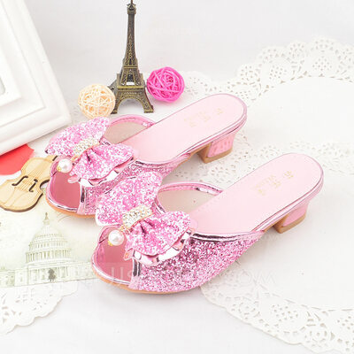 Girl Peep Toe Slippers Microfiber Leather Sandals Slippers With Beading Bowknot Sequin