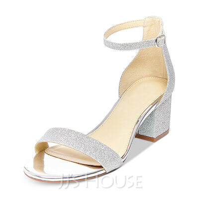 Women's Leatherette Sparkling Glitter Chunky Heel Sandals MaryJane With Buckle