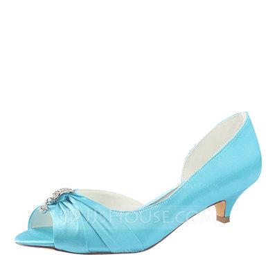 Women's Silk Like Satin Kitten Heel Peep Toe With Crystal