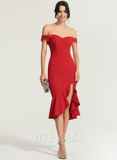Trumpet/Mermaid Off-the-Shoulder Asymmetrical Stretch Crepe Cocktail Dress With Cascading Ruffles