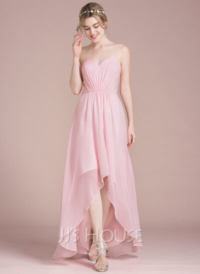 A-Line Sweetheart Asymmetrical Chiffon Lace Prom Dresses With Ruffle