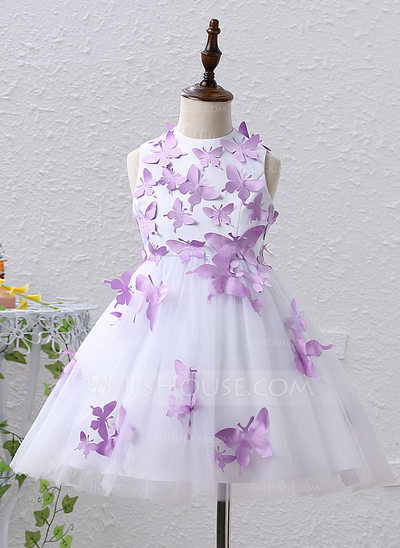 A-Line/Princess Knee-length Flower Girl Dress - Satin/Tulle Sleeveless Jewel With Appliques