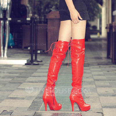 Women's Leatherette Stiletto Heel Closed Toe Over The Knee Boots shoes