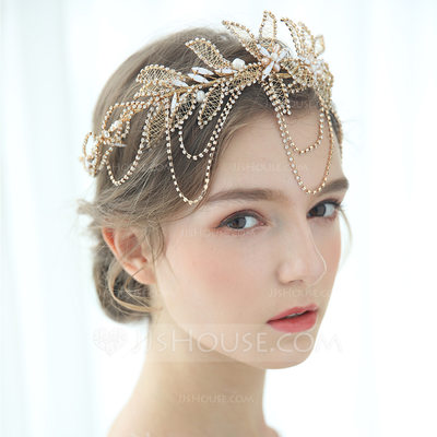 Ladies Glamourous Rhinestone/Freshwater Pearl Tiaras Rhinestone (Sold in single piece)
