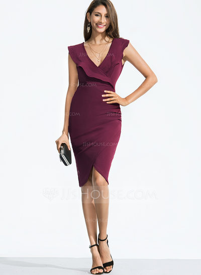 Polyester With Resin solid color Knee Length Dress