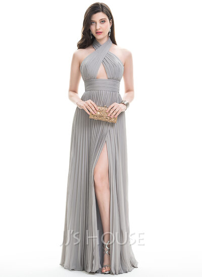 A-Line Halter Floor-Length Chiffon Prom Dresses With Split Front Pleated