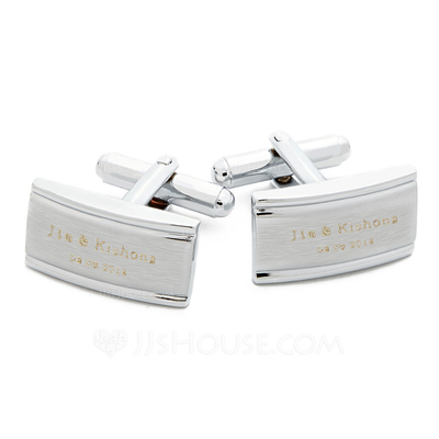 Personalized Classic Pattern Stainless Steel Cufflinks (Set of 2)