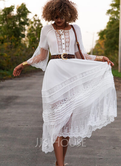 Lace Solid A-line Round Neck 3/4 Sleeves Flare Sleeve Maxi Elegant Skater Dresses