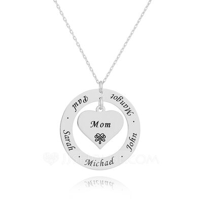 Custom Silver Heart Engraving/Engraved Circle Necklace With Flower - Birthday Gifts Mother's Day Gifts