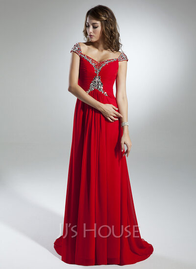 A-Line/Princess Off-the-Shoulder Sweep Train Chiffon Holiday Dress With Ruffle Beading