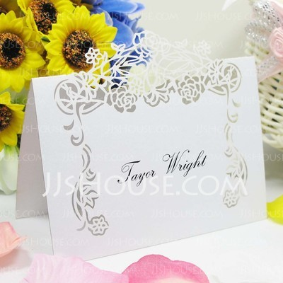 Lovely Rose vine Pearl Paper Place Cards (set of 12)