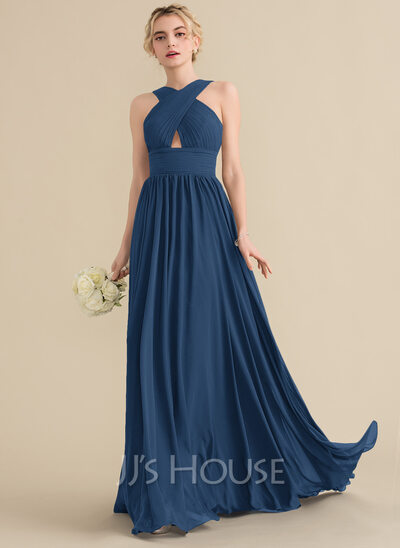 A-Line V-neck Sweep Train Chiffon Bridesmaid Dress With Ruffle