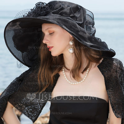 Ladies' Special/Romantic/Artistic Polyester With Tulle Floppy Hats