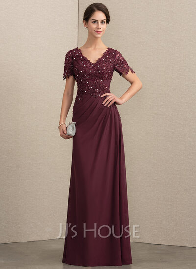 A-Line V-neck Floor-Length Chiffon Lace Evening Dress With Beading