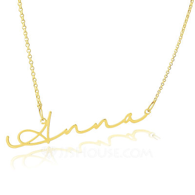 Christmas Gifts For Her - Custom 18k Gold Plated Silver Signature Name Necklace