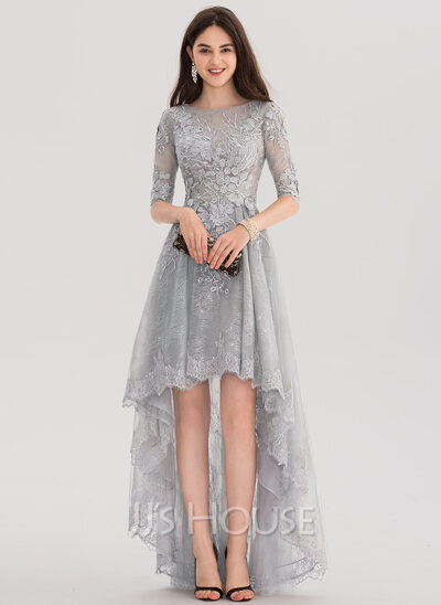 A Line Princess Scoop Neck Asymmetrical Tulle Lace Evening Dress