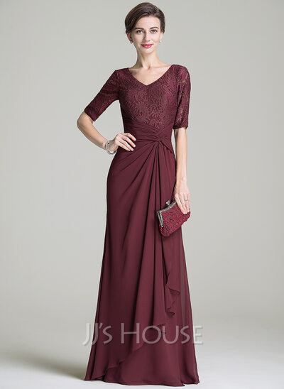 A-Line/Princess V-neck Floor-Length Chiffon Lace Mother of the Bride Dress With Ruffle Cascading Ruffles