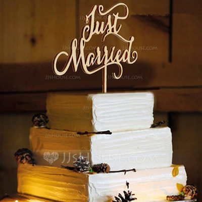 "Sweet Love/""Just Married"" Wood Cake Topper (Sold in a single piece)"