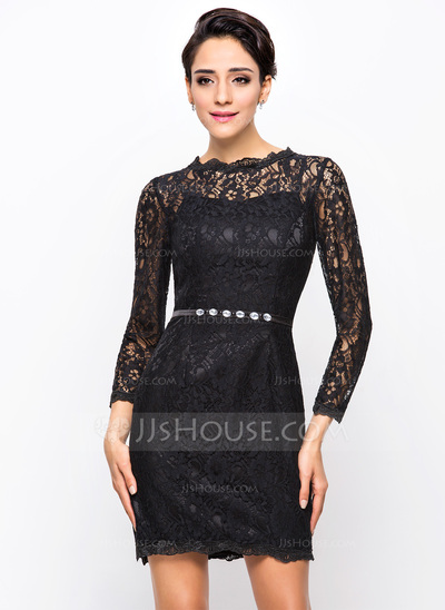 Sheath/Column Scoop Neck Short/Mini Lace Cocktail Dress With Beading