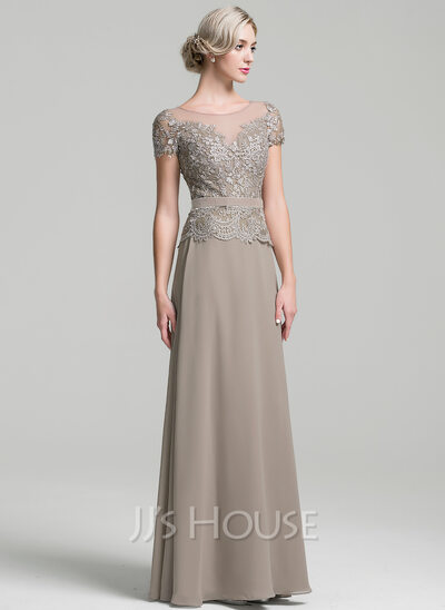 A Line Princess Scoop Neck Floor Length Chiffon Mother Of