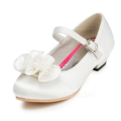 Kids' Satin Low Heel Closed Toe Pumps With Buckle Flower