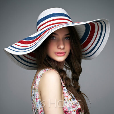 Ladies' Colorful Rattan Straw Floppy Hat/Straw Hat