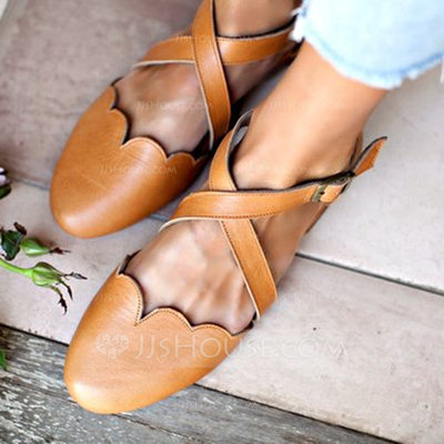 Women's PU Low Heel Flats With Buckle shoes