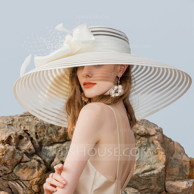 Ladies' Classic/Elegant/Simple/Vintage/Artistic Polyester With Feather Beach/Sun Hats