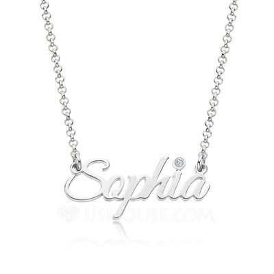 [Free Shipping]Custom Silver Letter Name Necklace Birthstone Necklace With Birthstone - Birthday Gifts