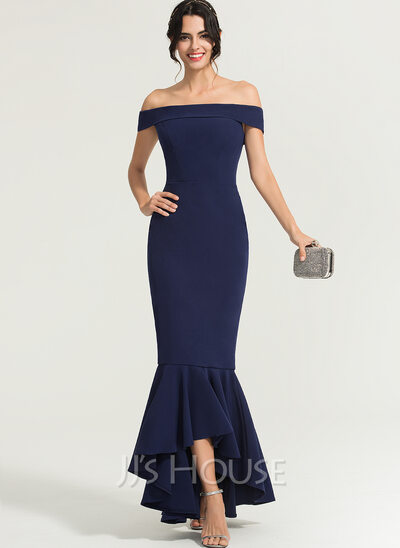 Trumpet/Mermaid Off-the-Shoulder Asymmetrical Stretch Crepe Evening Dress