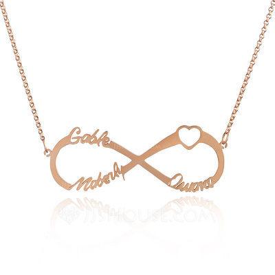 Christmas Gifts For Her - Custom 18k Rose Gold Plated Silver Infinity Three Name Necklace Infinity Name Necklace With Heart