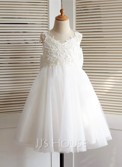 A-Line/Princess Knee-length Flower Girl Dress - Tulle Sleeveless Straps With Appliques Bow(s) V Back