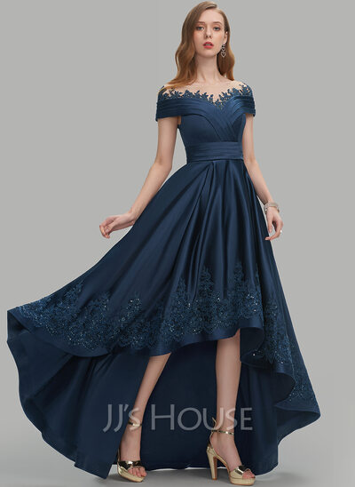 A-Line Scoop Neck Asymmetrical Satin Prom Dresses With Sequins Pockets