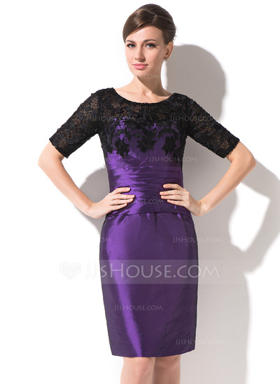 Sheath/Column Scoop Neck Knee-Length Taffeta Lace Mother of the Bride Dress With Ruffle
