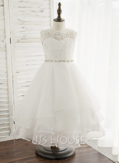 Tea-length Flower Girl Dress - Organza Lace Sleeveless Scoop Neck