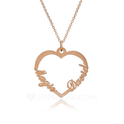 [Free Shipping]Christmas Gifts For Her-Custom 18k Rose Gold Plated Silver Two Name Necklace Heart Necklace
