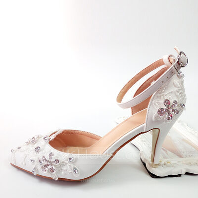 Women's Leatherette Low Heel Closed Toe Pumps With Applique Crystal