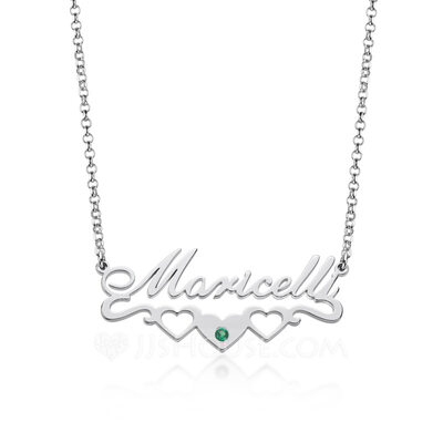 Custom Silver Letter Name Necklace Birthstone Necklace With Heart Birthstone - Birthday Gifts