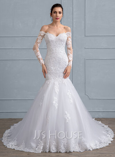 Trumpet/Mermaid Off-the-Shoulder Chapel Train Tulle Lace Wedding ...