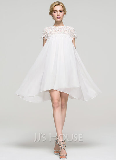 A-Line/Princess Scoop Neck Knee-Length Chiffon Homecoming Dress