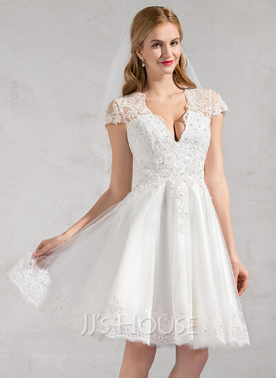 A-Line V-neck Knee-Length Tulle Wedding Dress With Lace Beading Appliques Lace Sequins