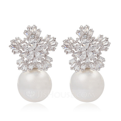 Snowflakes Shaped Pearl/Zircon/Platinum Plated Ladies' Earrings