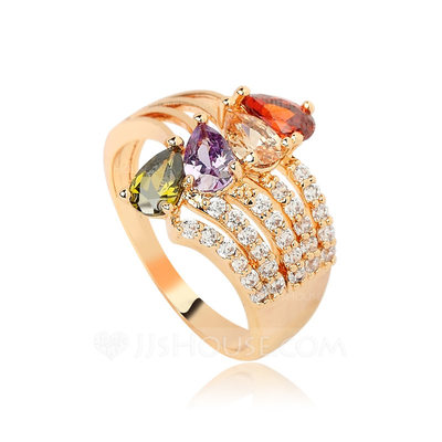 Elegant Copper/Zircon With Rhinestone Ladies' Rings