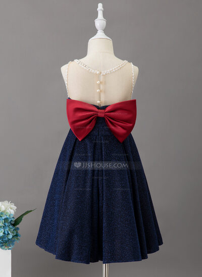 A-Line Knee-length Flower Girl Dress - Jersey Sleeveless Scoop Neck With Beading/Sequins/Bow(s)